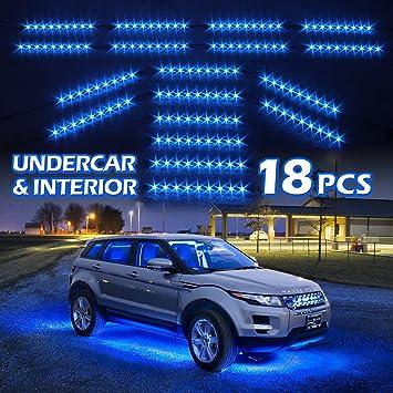 amazon com blue premium 18pcs underglow car interior three mode