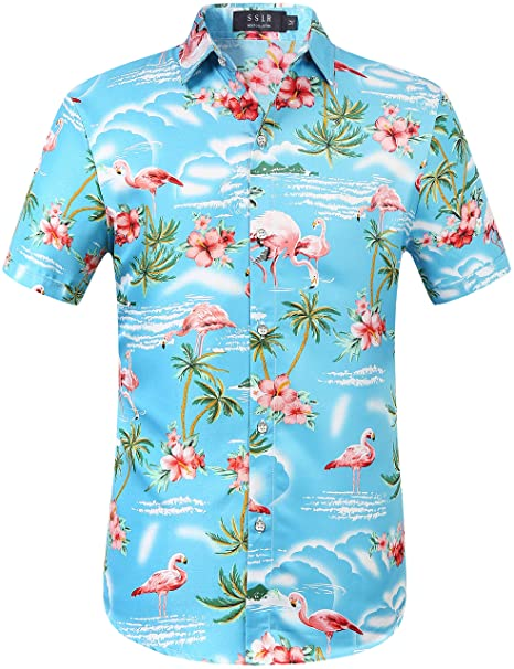 ca48263f SSLR Men's Flamingos Casual Short Sleeve Aloha Hawaiian Shirt (Small, Blue)
