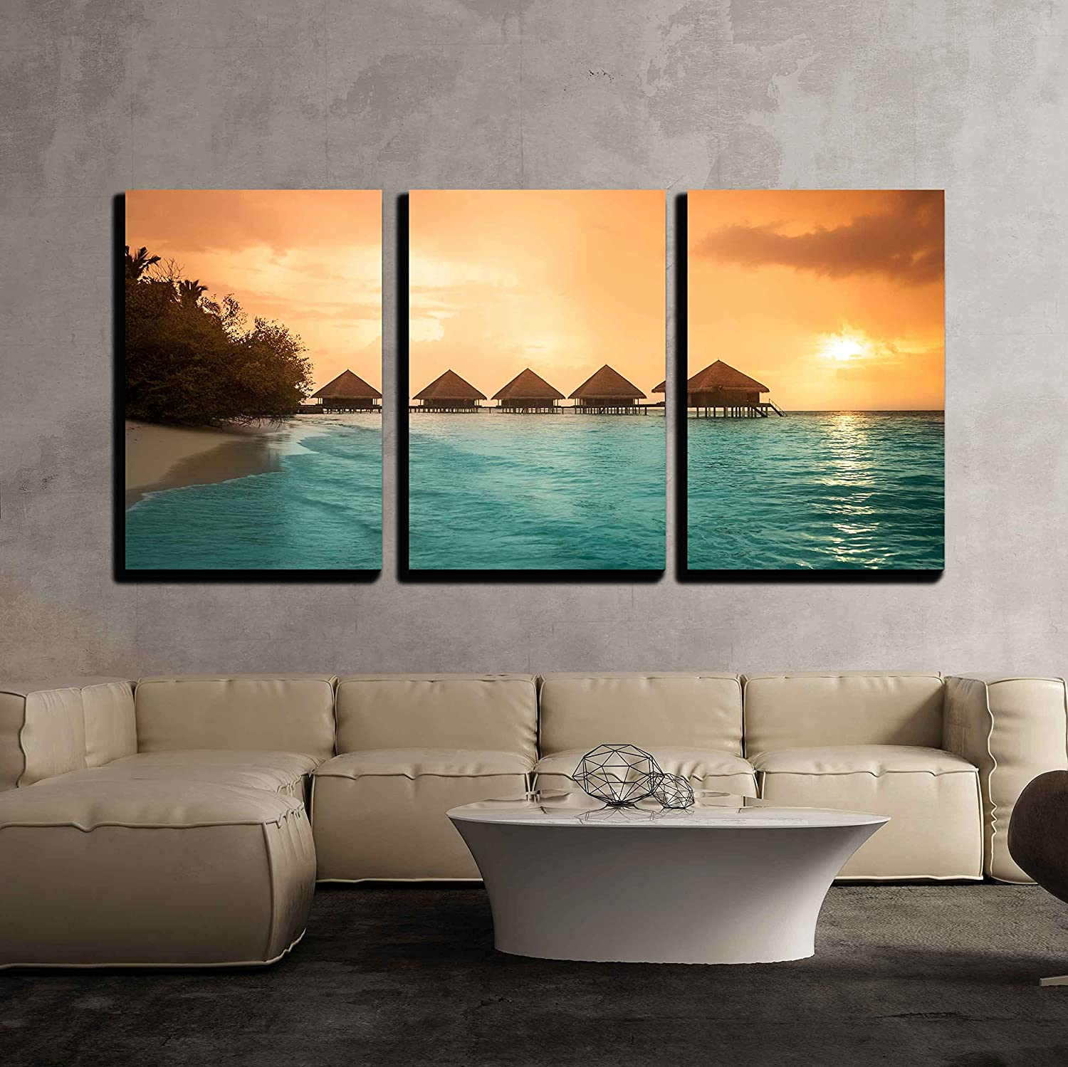 "wall26 - 3 Piece Canvas Wall Art - Over Water Bungalows with Steps into Amazing Green Lagoon - Modern Home Art Stretched and Framed Ready to Hang - 16""x24""x3 Panels"