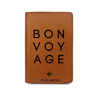 Personalized RFID Blocking Leather Passport Holder Bon Voyage Plane