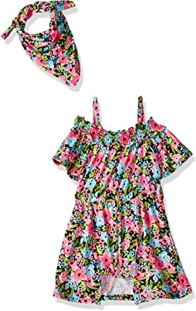 Limited Too Girls Printed Fashion Romper and Hair Accessory Set
