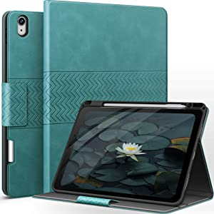 auaua iPad Air 4 Case 10.9 Inch 2020 with Built-in Apple Pencil Holder PU Leather Cover for iPad Air 4th Generation 2020 (Green)