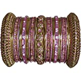 Indian Bridal Collection! Panache' Pink Bangles Set in Gold Tone By BangleEmporium. X-Small Size 2.4