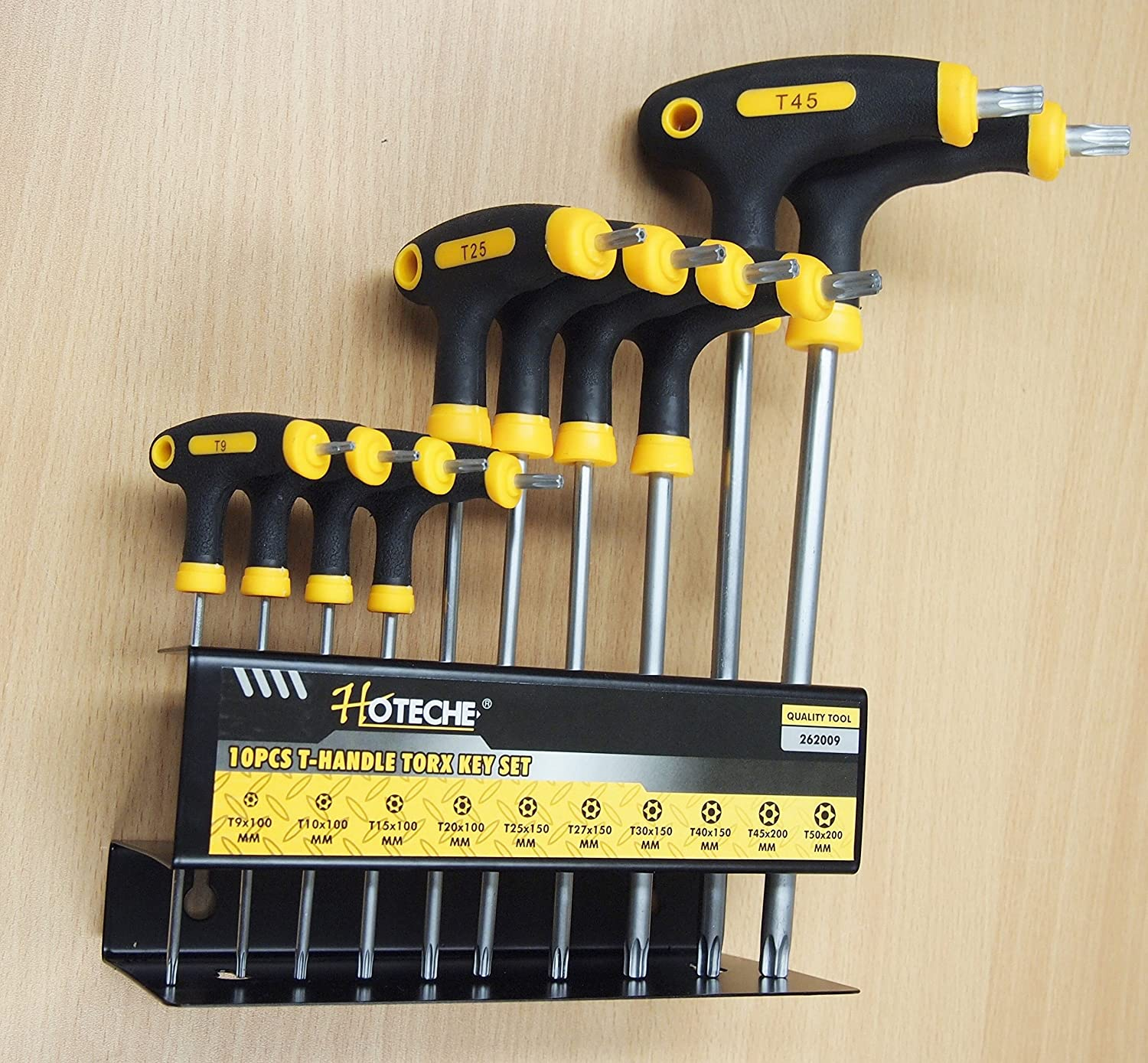Hoteche 10PC T-Handle Torx Star Key Wrench Set 2 Drive Ends Stand Rack