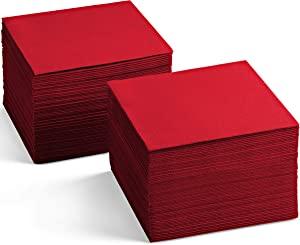 Linen-Feel Colored Cocktail Napkins - Decortive Cloth-Like RED Dessert And Beverage Napkins - Soft And Absorbent. For Restaurant, Bar, Cafe, Or Event. (Pack of 200)