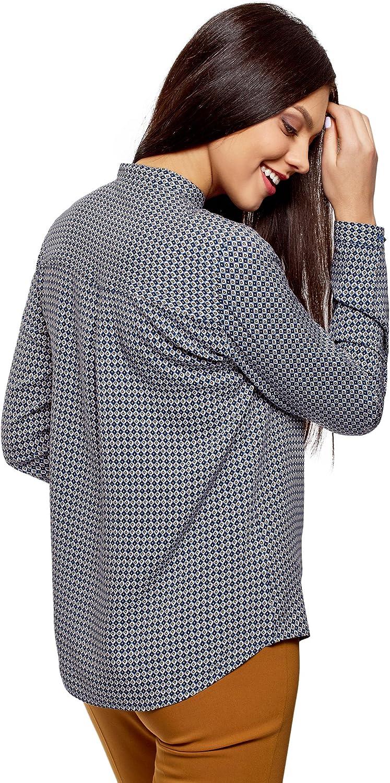 oodji Collection Mujer Blusa de Viscosa Estampada con Cuello Mao