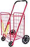 ATH Extra Large Deluxe Rolling Utility / Shopping Cart - Stowable Folding Heavy Duty Cart with Rubber Wheels For Haul Laundry, Groceries, Toys, Sports Equipment, (Red, XXL)