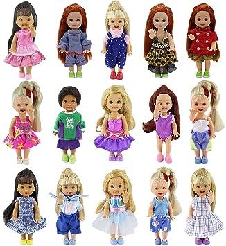 ZITA ELEMENT Ropa de muñeca Hecha a Mano 6 Piezas Moda Mini Vestido Encantador Vestido Traje para La Hermana Pequeña de Barbie Kelly Muñeca 10-11cm / 4 Pulgadas- Estilo Aleatorio