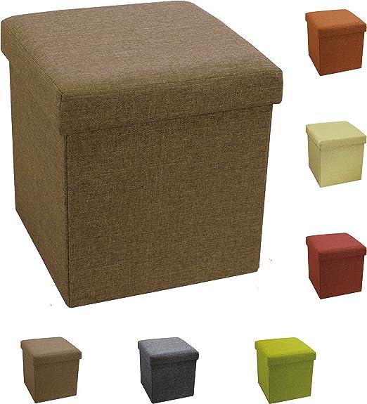 Puf Puff Contenedor Caja Cubo reposapiés Taburete de poliéster tamaño 38 x 38 x 38 cm Color Pardo: Amazon.es: Hogar