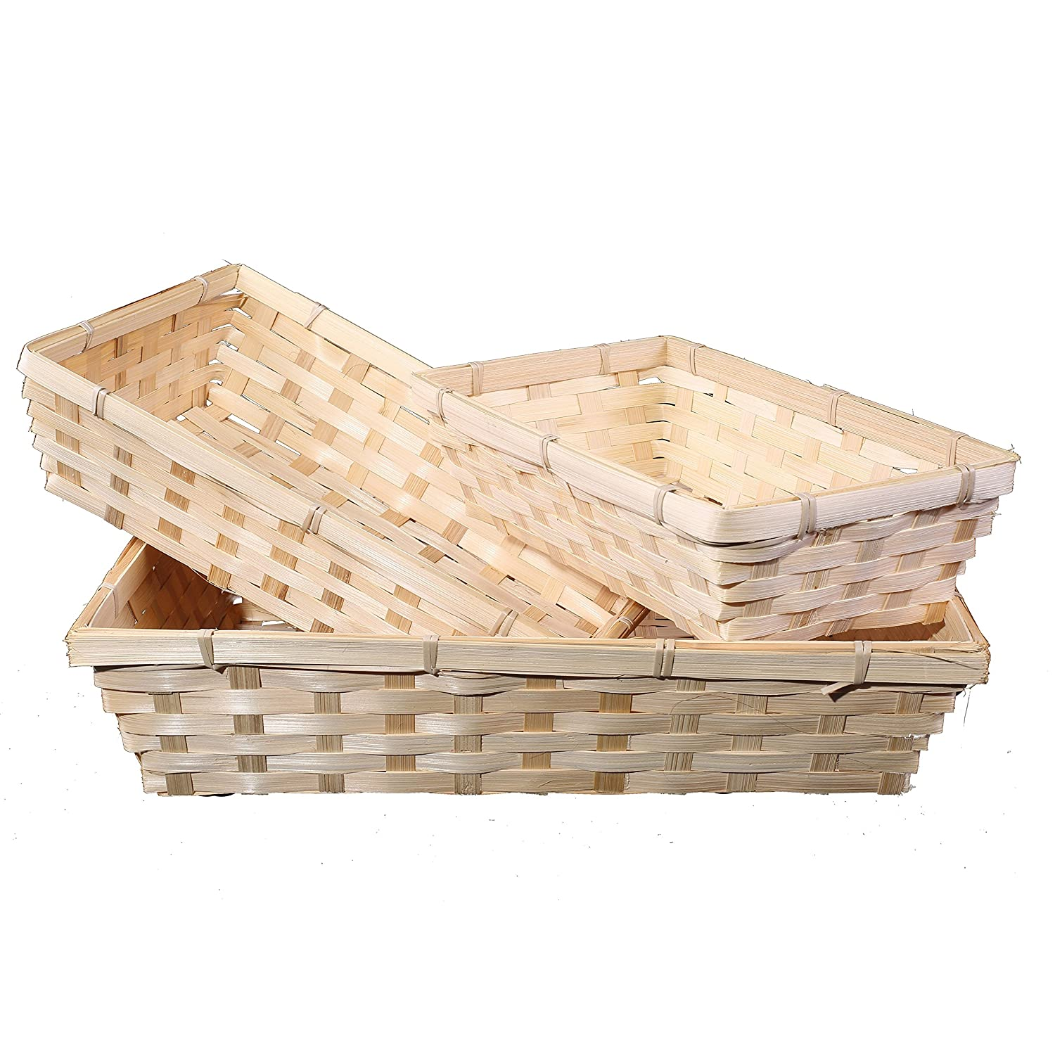 10 x Bamboo Natural Color Wicker Bread Basket Storage Hamper Display Tray (Extra Large) Basic House