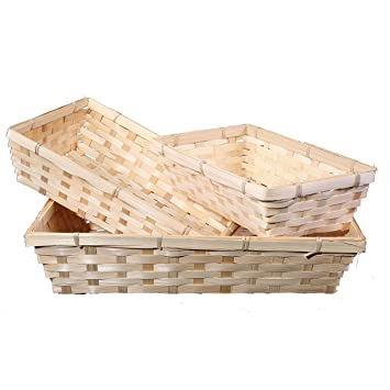 438a9118ff1d6c 10 x Bamboo Natural Color Wicker Bread Basket Storage Hamper Display Tray  (Small)  Amazon.co.uk  Kitchen   Home