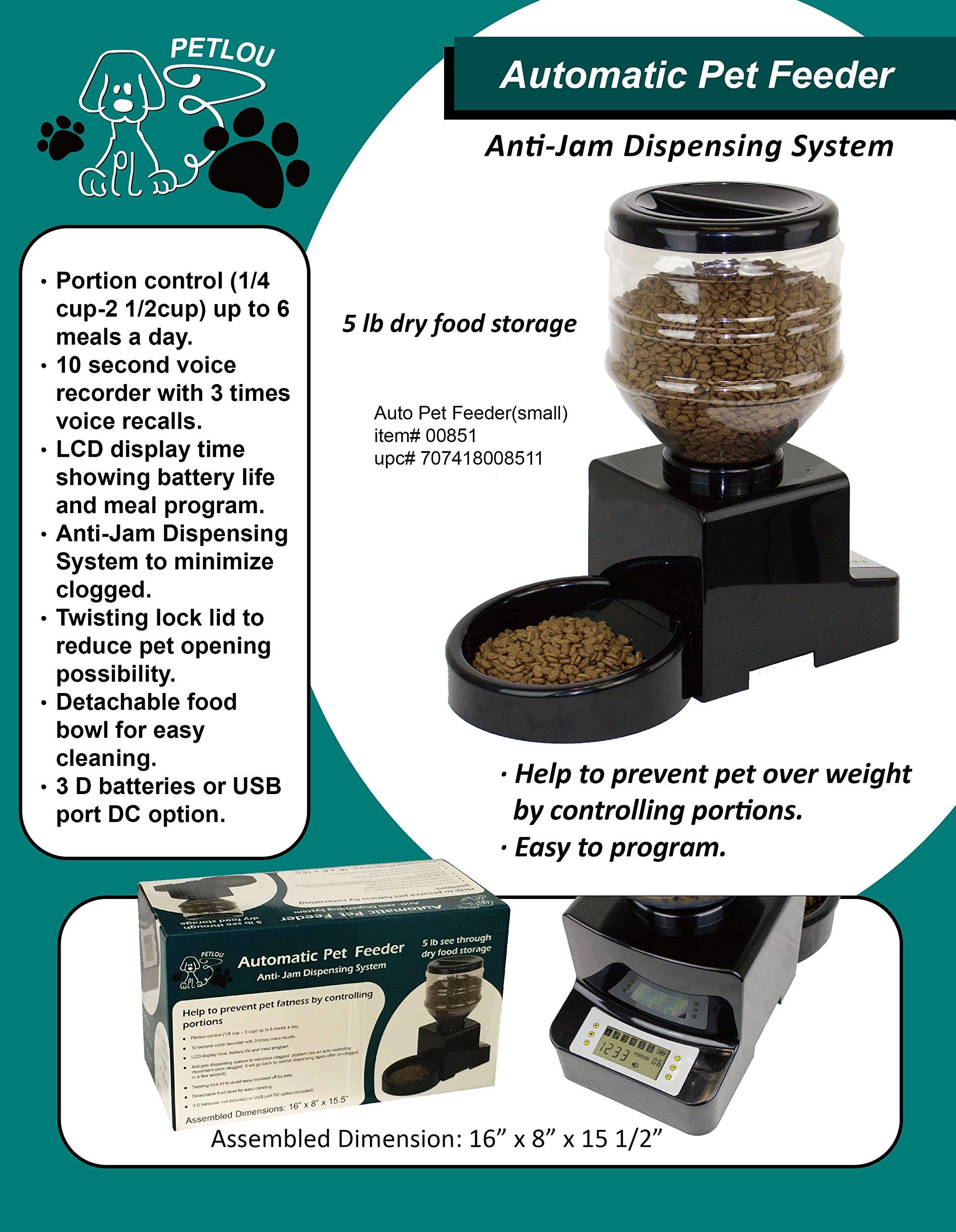 Petlou Automatic Pet Feeder with Anti-Jam Dispensing System