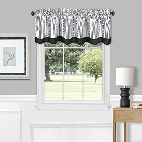 Achim Home Furnishings, Black White Westport Window Curtain Valance, 58 x14