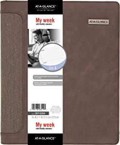 Day Runner Undated Harrison Leather Day Planner, 10.5 x 12.5 x 11.18 inches (307-0304),Brown