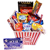 "Movie Night Gift Basket Ultimate Care Package with Lots of Premium Candy Cookies Popcorn and Snacks in a Cool Retro Nostalgic Plastic Bucket & Kinayto""Fun Movie Night"" Poem"