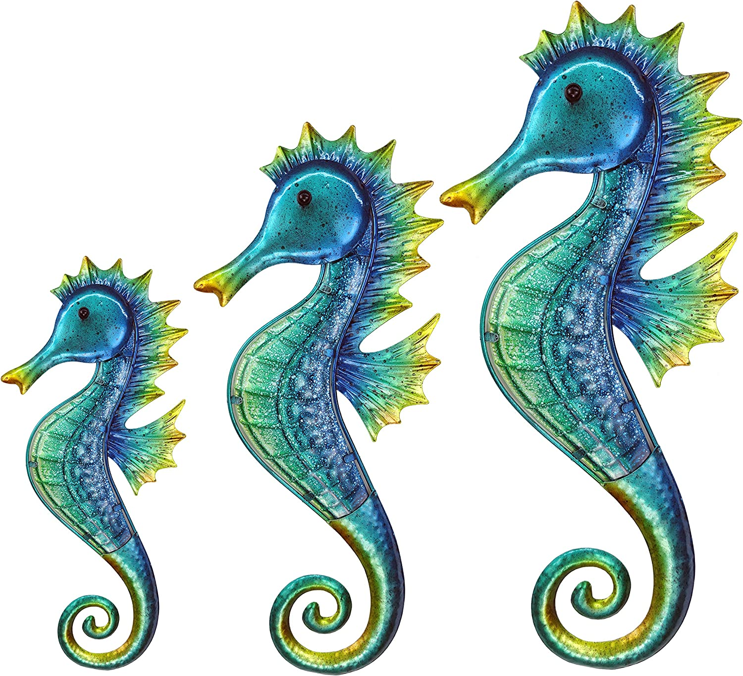 JOYBee 3Pcs 18inch 14inch 11.5inch Coastal Ocean Metal Large Seahorse Wall Art Decor Family Set,Decorations for Outdoor Indoor Bathroom Kitchen Garden Bedroom Patio,Porch or Fence