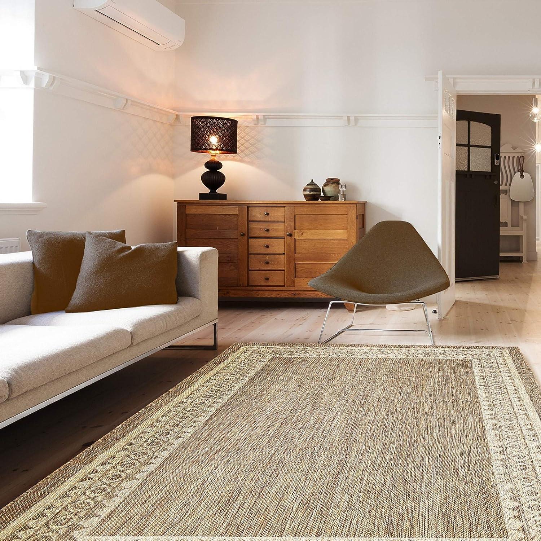 Indoor Outdoor Border Area Rug 7 10 X 10 Neutral Furniture Decor