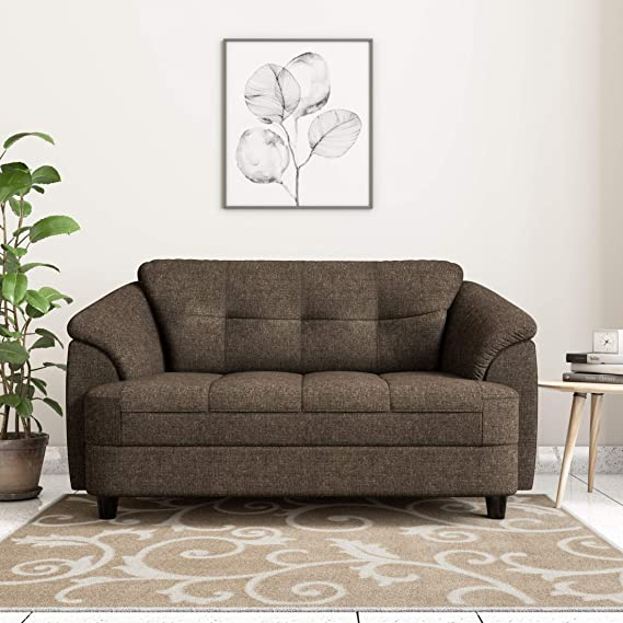 Amazon Brand   Solimo Newport Fabric 2 Seater Settee Sofa  Brown  Sofas   Couches