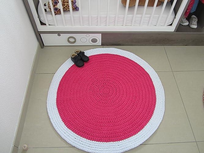 Tapis rose et blanc pour chambre de bébé ou jeune fille, tapis au ...
