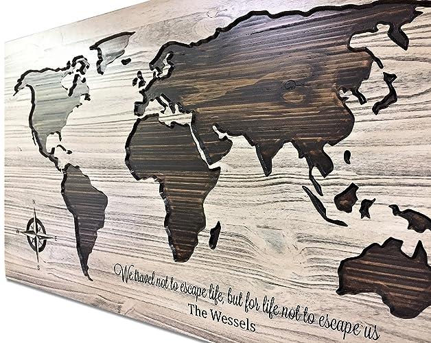 Amazon.com: World Map Art, Wood Wall Art, Push Pin Map, Map ...
