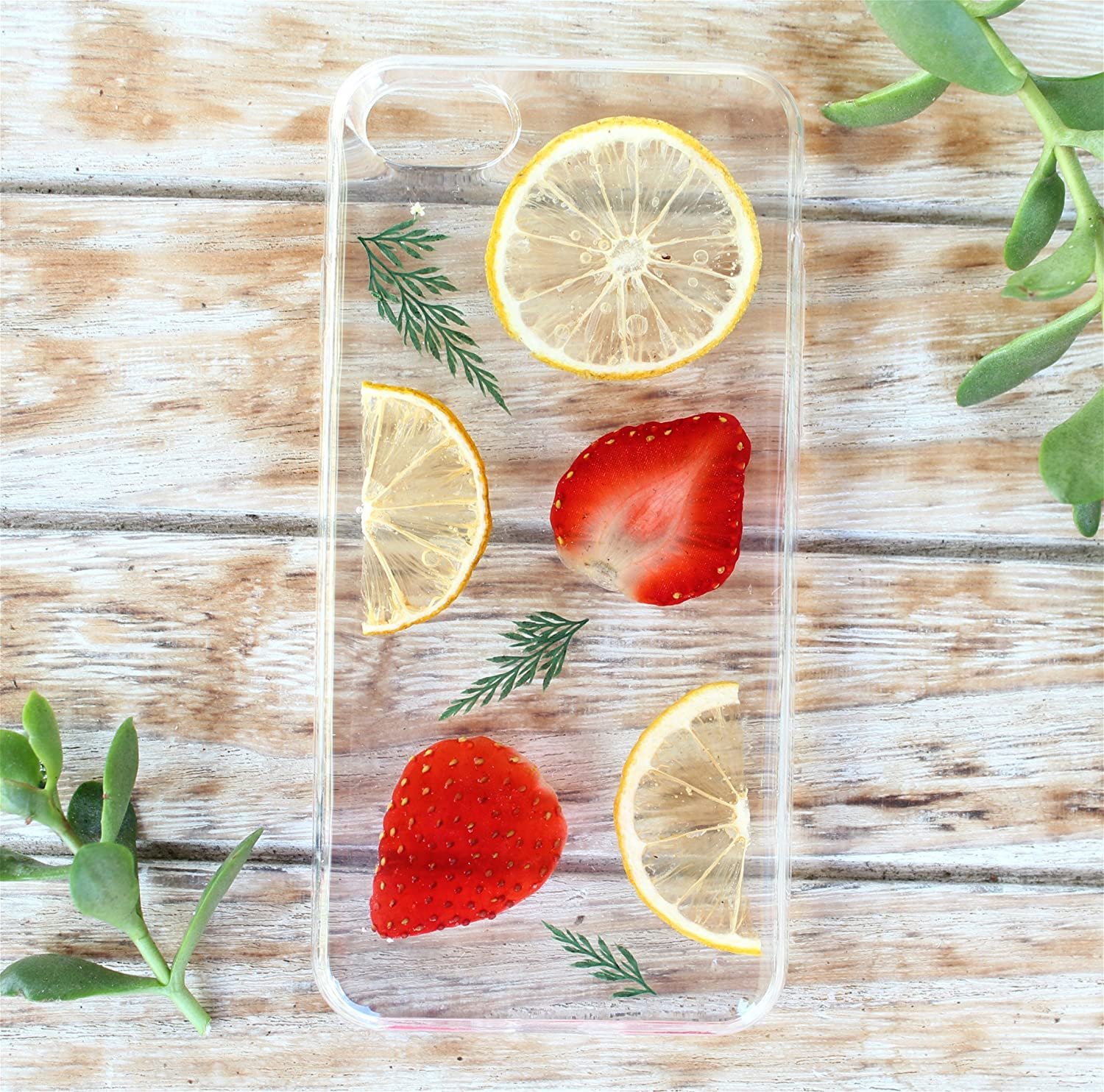 Handmade Real Pressed Dried Strawberry and Lemon Fruit case for iPhone 7, iPhone 8, iPhone 7 plus, 8 Plus. iPhone 10 (X) Soft silicone case - Pressed Dried Flowers iPhone Case Cover