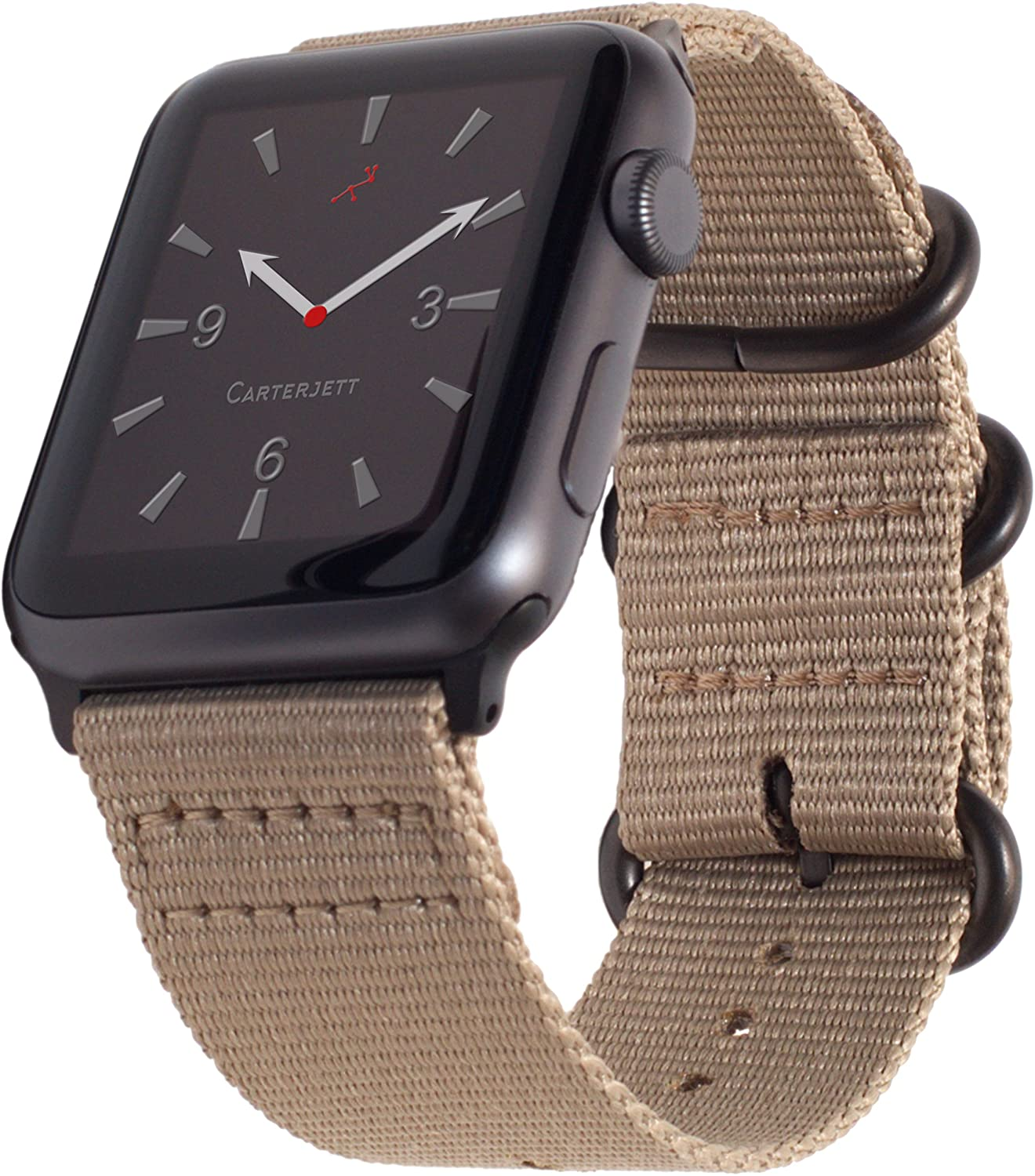 Carterjett Compatible with Apple Watch Band 38mm 40mm Desert Beige Nylon iWatch Bands Replacement Strap Men Women Gray Military Style Buckle Adapters Sport for Series 5 4 Series 3 2 1(38 40 S/ML Tan)