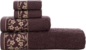 HYGGE Luxury Turkish Cotton Towel Soft Plush Decor Set with Floral Pattern; 1 Bath Towel (27