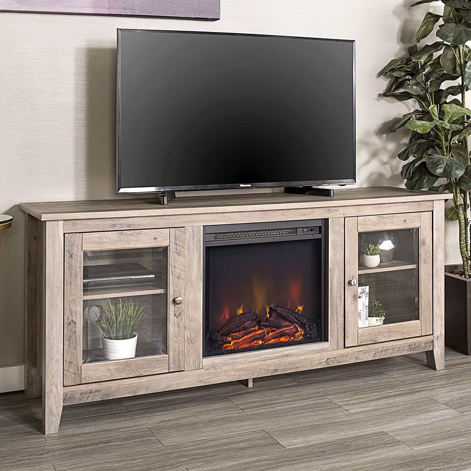 Walker Edison Traditional Wood 65 inch Fireplace Stand for TVs