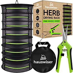 Hauswiser 8 Layers Herbs Drying Rack - Mesh Hanging Harvest Basket Plant Dryer Net with Green Zipper & Garden Pruning Shears for Hydroponics Flowers and Buds
