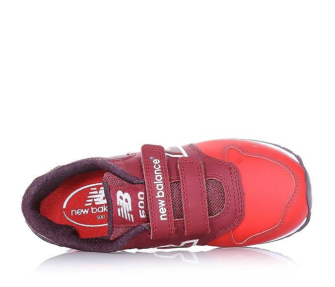 NEW BALANCE - Zapatilla deportiva roja, en cuero y tela, con velcro, con logo lateral y posterior, Niña, Niñas-30,5
