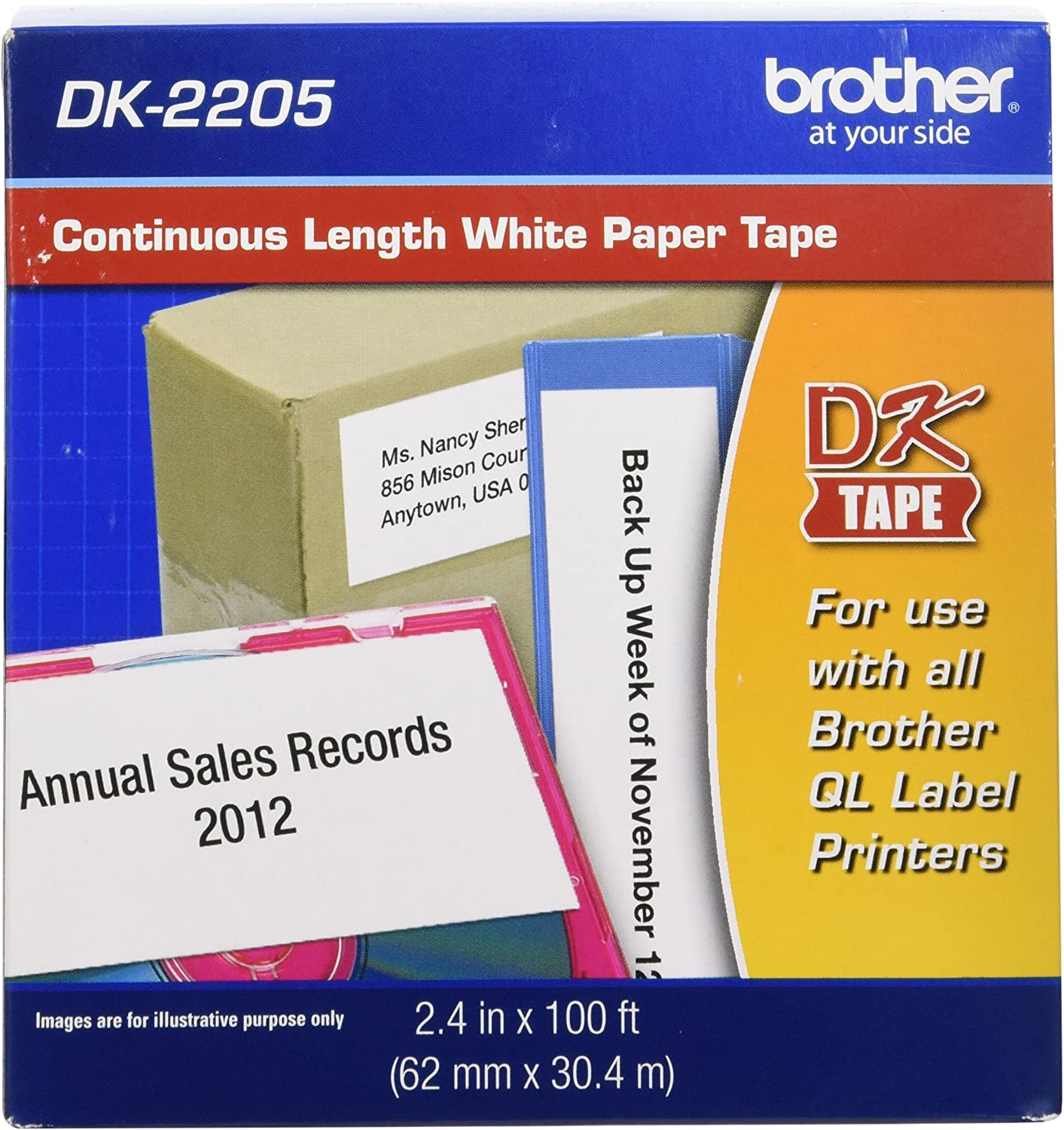 "Brother Genuine, DK-2205 Continuous Paper Label Roll, Cut-to-Length Label, 2.4"" x 100 Feet, (1) Roll Per Box : Multipurpose Paper : Office Products"
