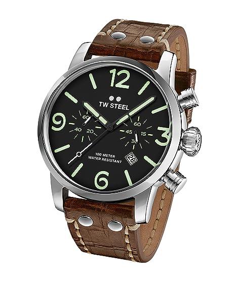 TW Steel Reloj Cronógrafo para Hombre de Cuarzo con Correa en Cuero MS14: Amazon.es: Relojes