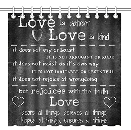 Wknoon 72 X Inch Shower Curtain Inspirational Quotes About Love