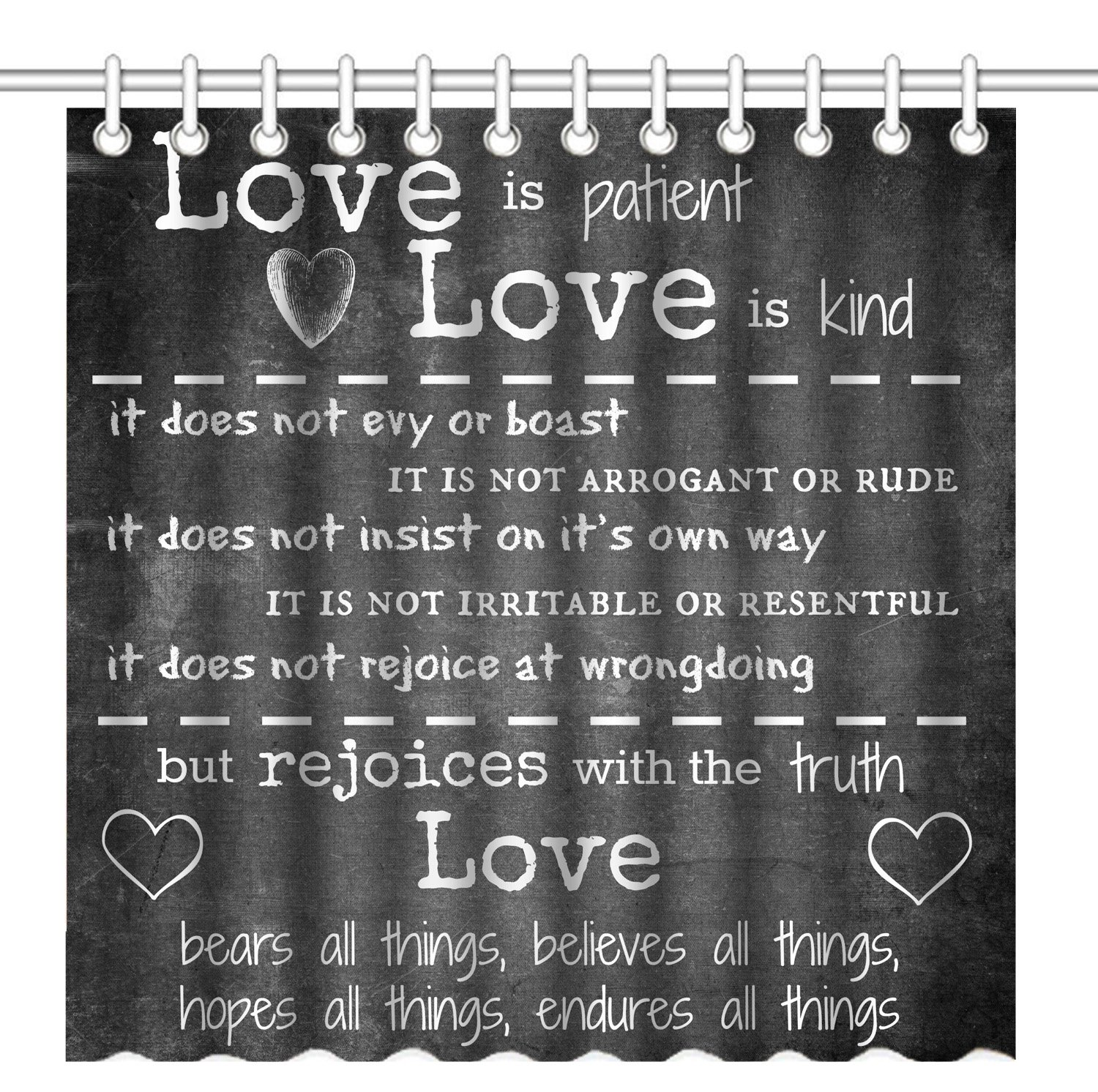 Wknoon 72 x 72 Inch Shower Curtain, Inspirational Quotes About Love - Love is Patient, Waterproof Polyester Fabric Decorative Bathroom Bath Curtains