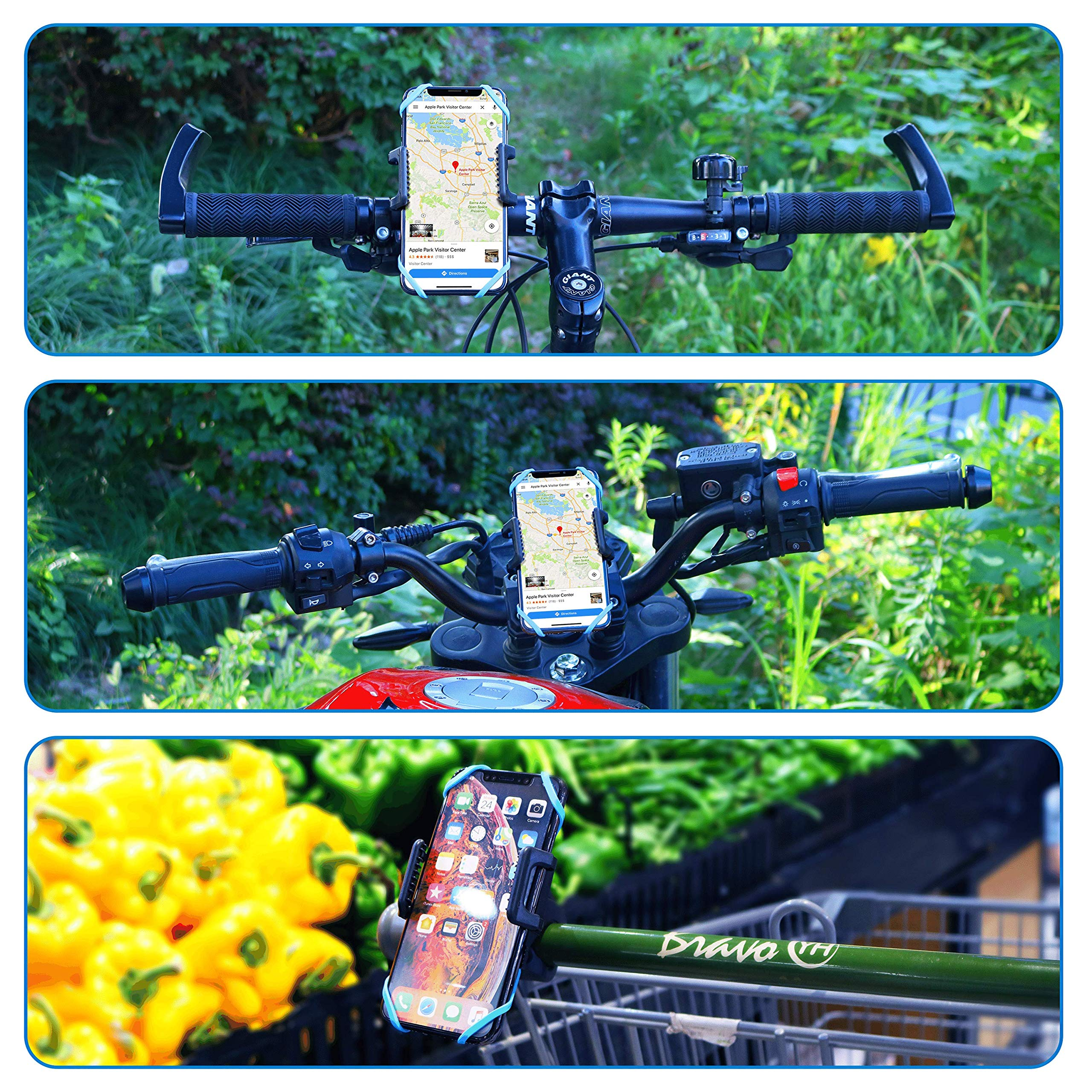 PREMIUM Bike Phone Holder Mount - Universal Mounts for Bicycle, Motorcycle, Motorbike, Moped, Scooter, Pram - All Handlebars & 360° - AntiShake & NonSlip - 3.5 to 6.5 Inch Smartphone - Waterproof