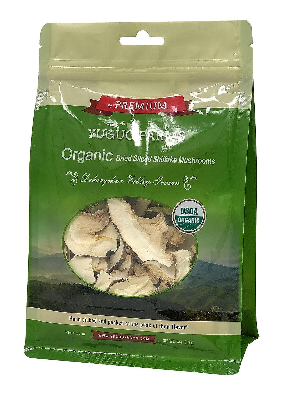 Yuguo Farms Dried Sliced Shiitake Mushrooms Certified USDA Organic, 100% Naturally Grown, NON-GMO, 2oz bag, 2 pack