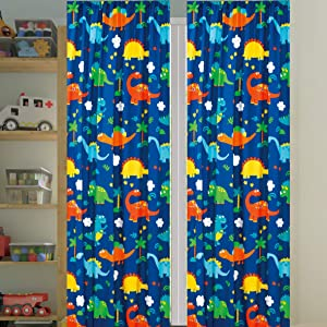 Sapphire Home Kids Boys Window Curtain Panels with tiebacks, Fun Dinosaurs Design Print Window Curtain for Boys Kids, Blue Green Kids Room Décor, Dinosaur Curtain