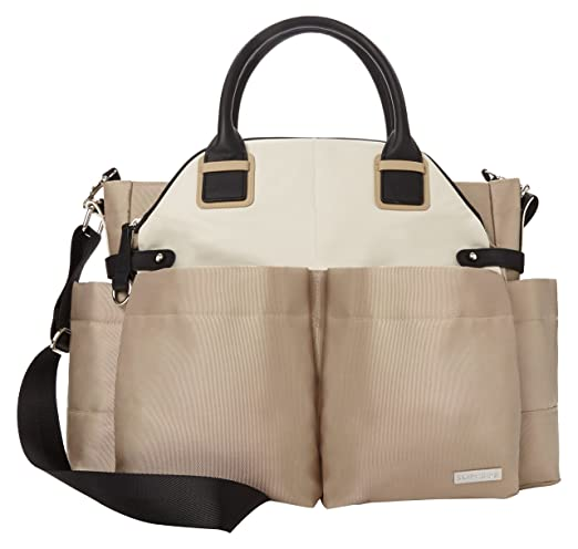 Skip Hop Baby Chelsea Downtown Chic Diaper Bag Satchel with Adjustable Shoulder and Stroller Straps, 12 Pockets, Champagne (Discontinued by Manufacturer)