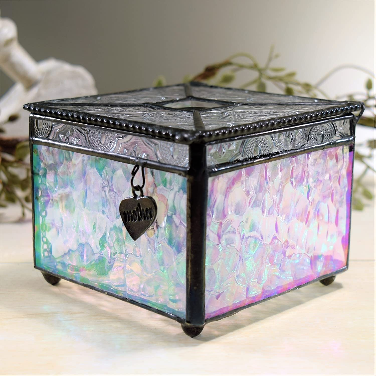 J Devlin Box 407 Stained Glass Keepsake Box for Mom Clear