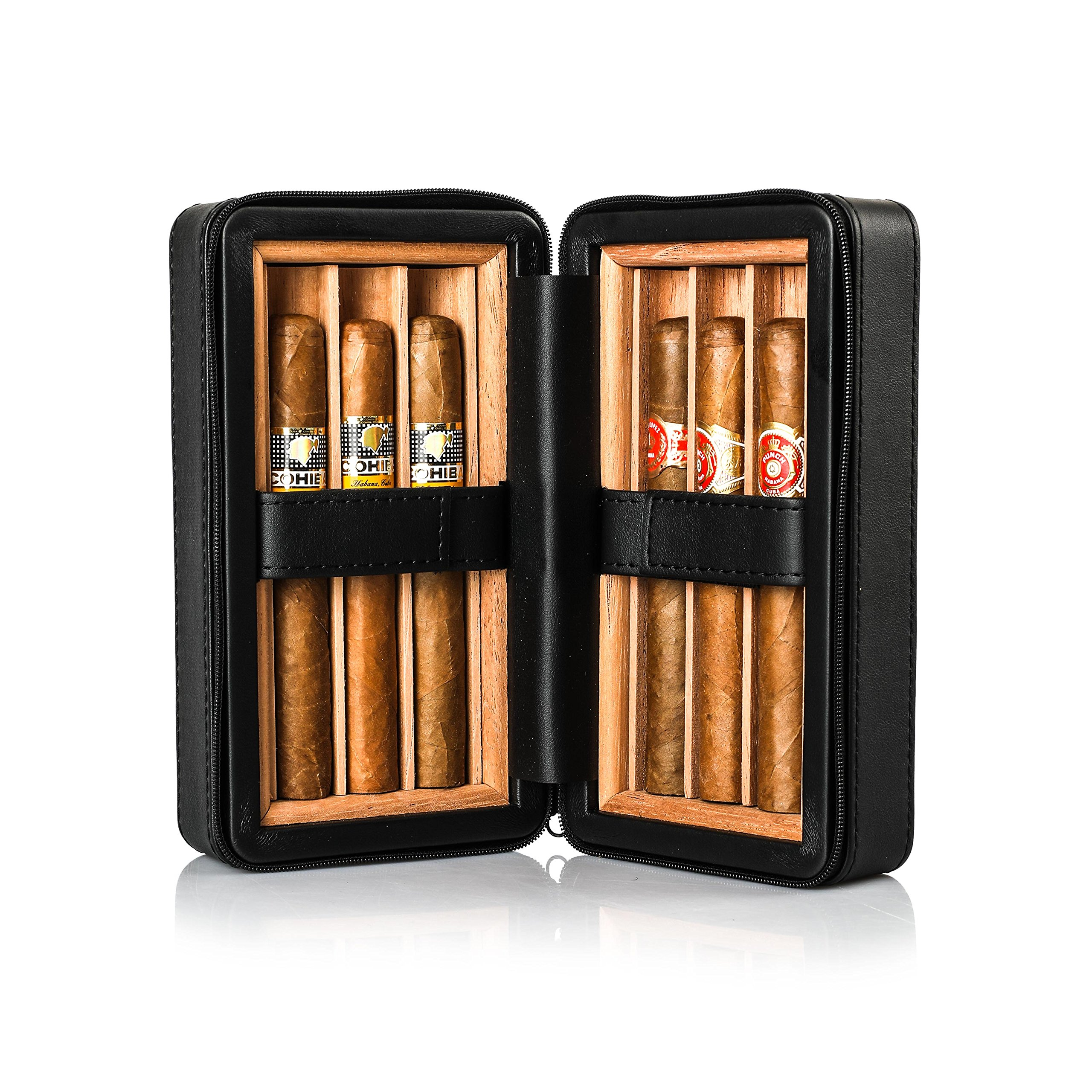 Jamestown Cigar Barcelona Leather Travel Cigar Case - Handmade Cedar-Lined Travel Case Wrapped in Soft Synthetic Leather - Holds up to 6 Full-Size Cigars by Jamestown Cigar (Image #1)
