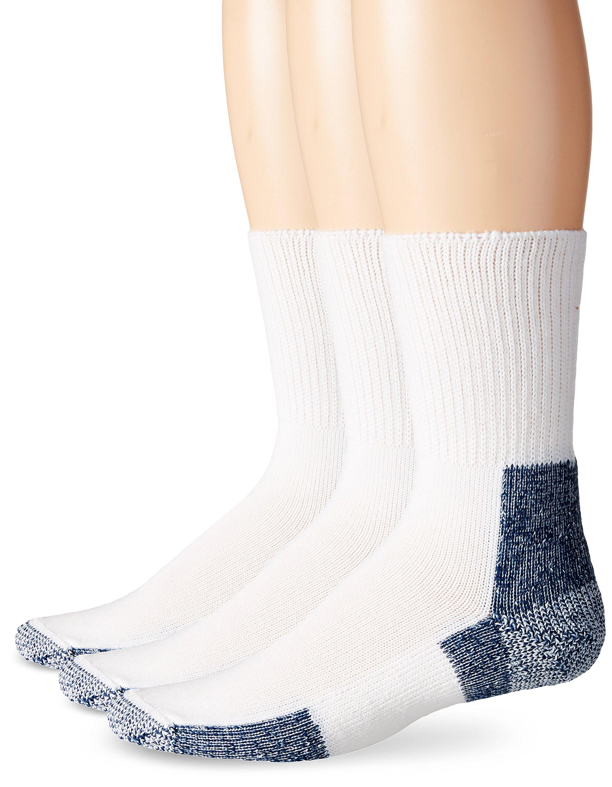 Thorlos Unisex XJ Running Thick Padded Crew  Sock, White (3 Pack), XLarge