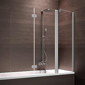 Schulte Badewannenaufsatz Duschabtrennung Badewanne 3 teilig mit  Festelement, 150x140 cm, Sicherheitsglas klar beschichtet, Profile  chrom-optik, ...