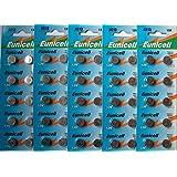 Eunicell Lot de 50piles bouton alcaline AG13 également connues sous les références A76, L1154, SR44, G13, 357, PX76A, V13GA