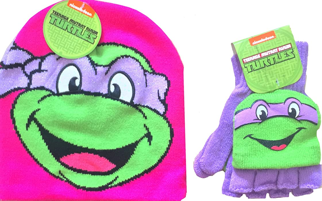 Teenage Mutant Ninja Turtles Knit Pink Beanie Classic Donatello with  Matching Teenage Mutant Ninja Turtles Mittens f7cea2086cb5