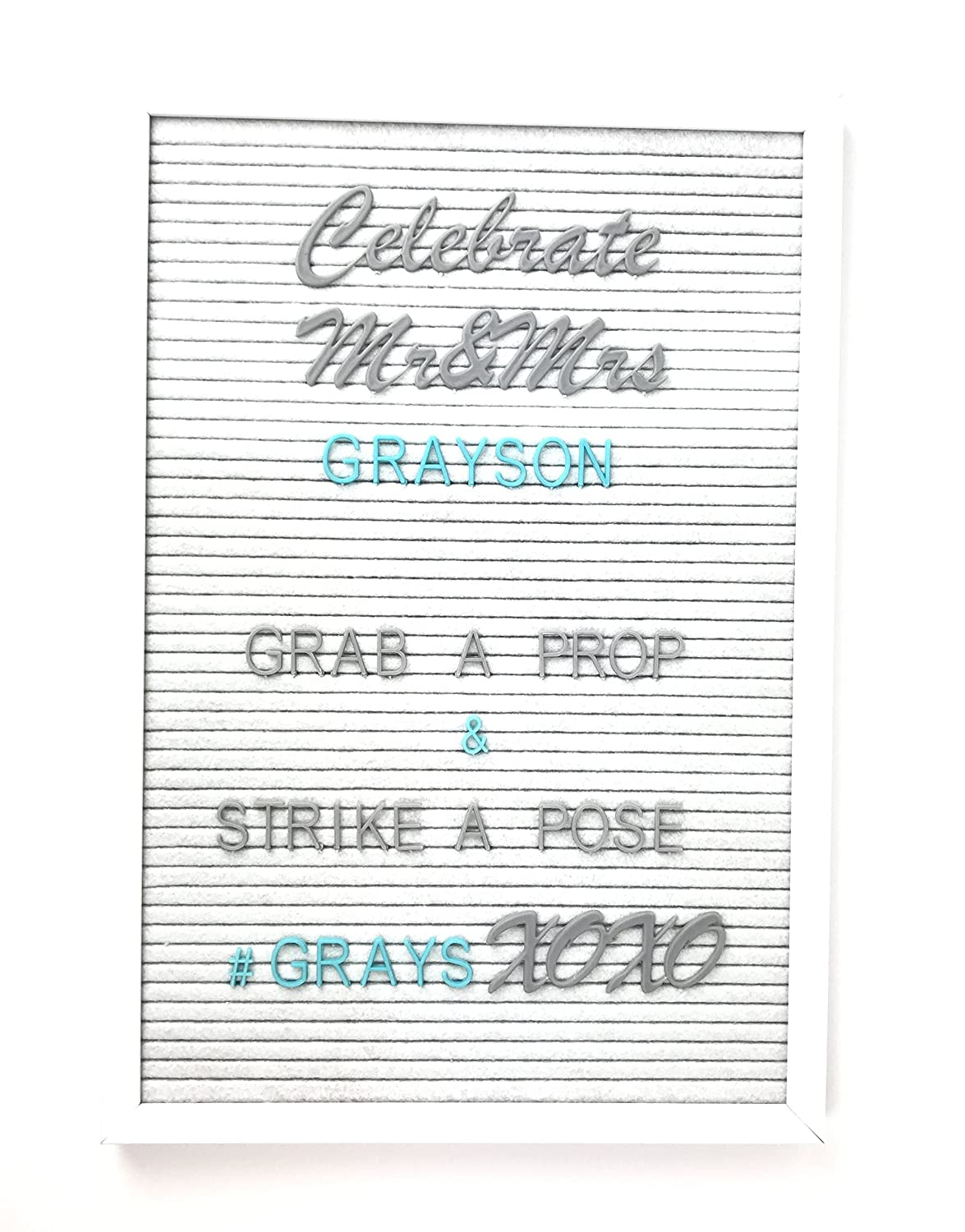 GREY & AQUA PREMIUM COLORED HELVETICA & BRUSH SCRIPT MT CURSIVE LETTERS for a felt vintage style board - 290 changeable accessory characters including the alphabet, symbols, shapes, numbers and words. Leisure Art