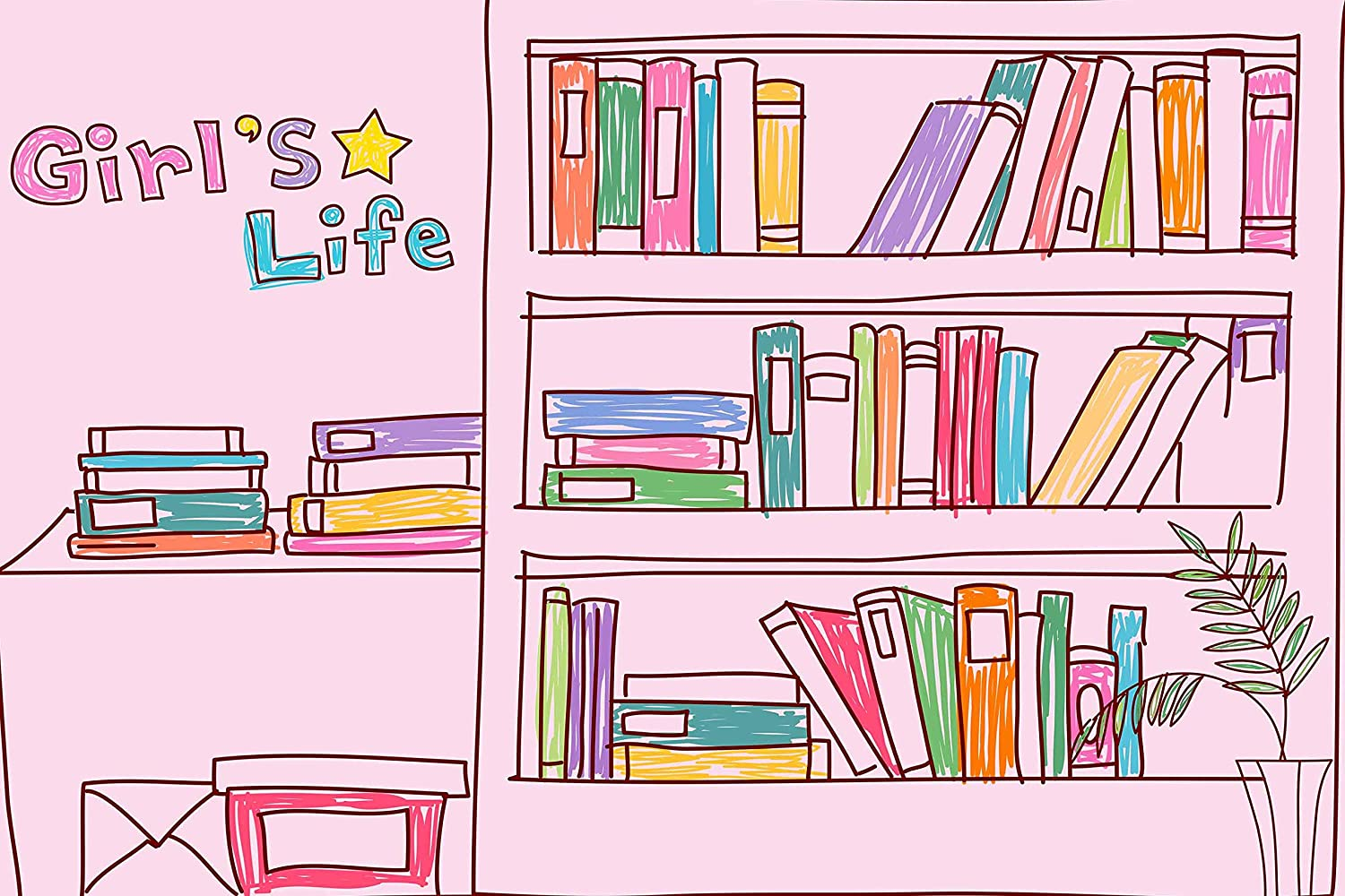 Books School College Pupils Background Pink Girl Study Room Bookshelf Photography Backdrop for Party Photo Booth Studio Props LYLU896 9x6FT