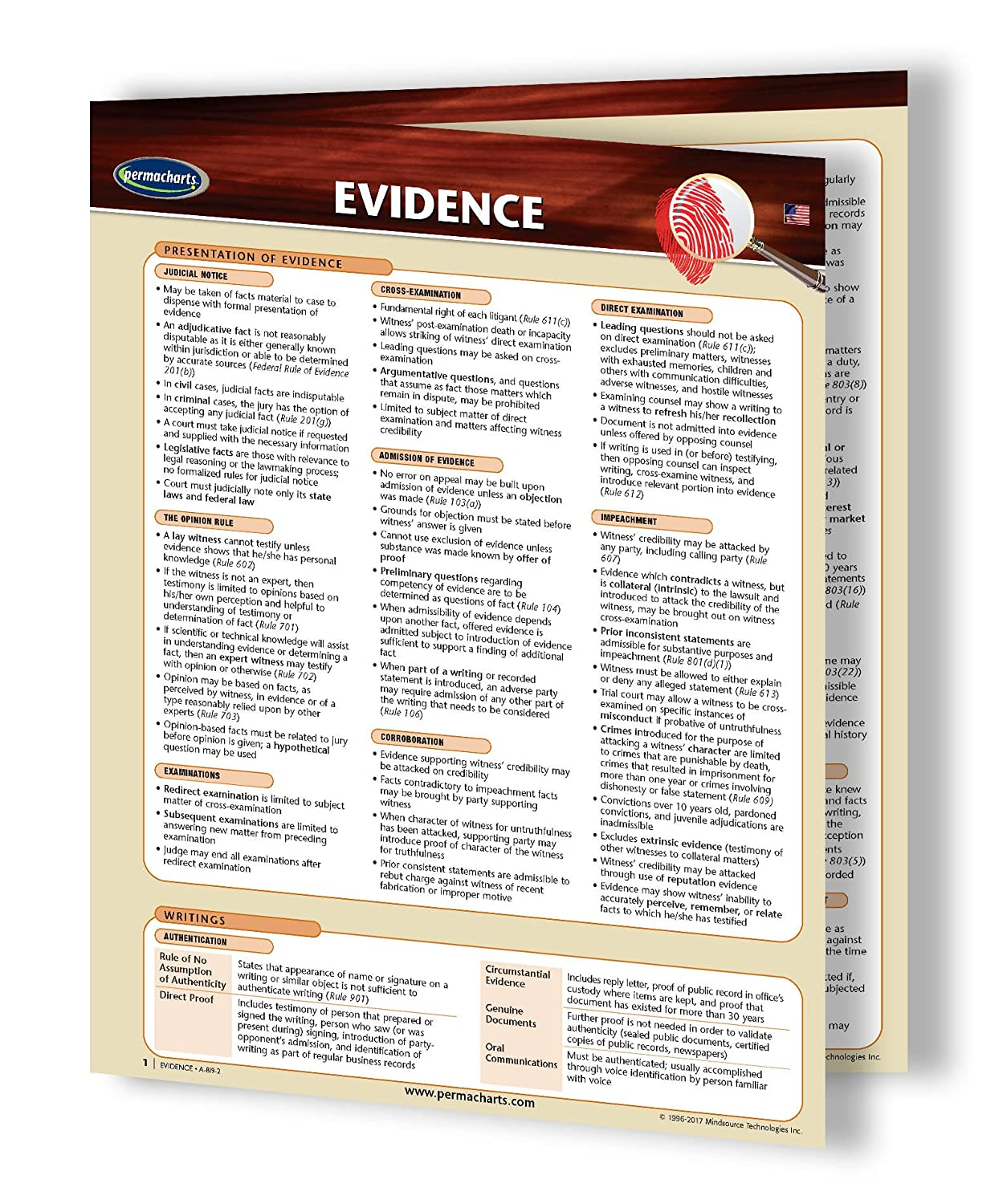 amazoncom evidence law guide guide legal studies quick reference guide by permacharts office products