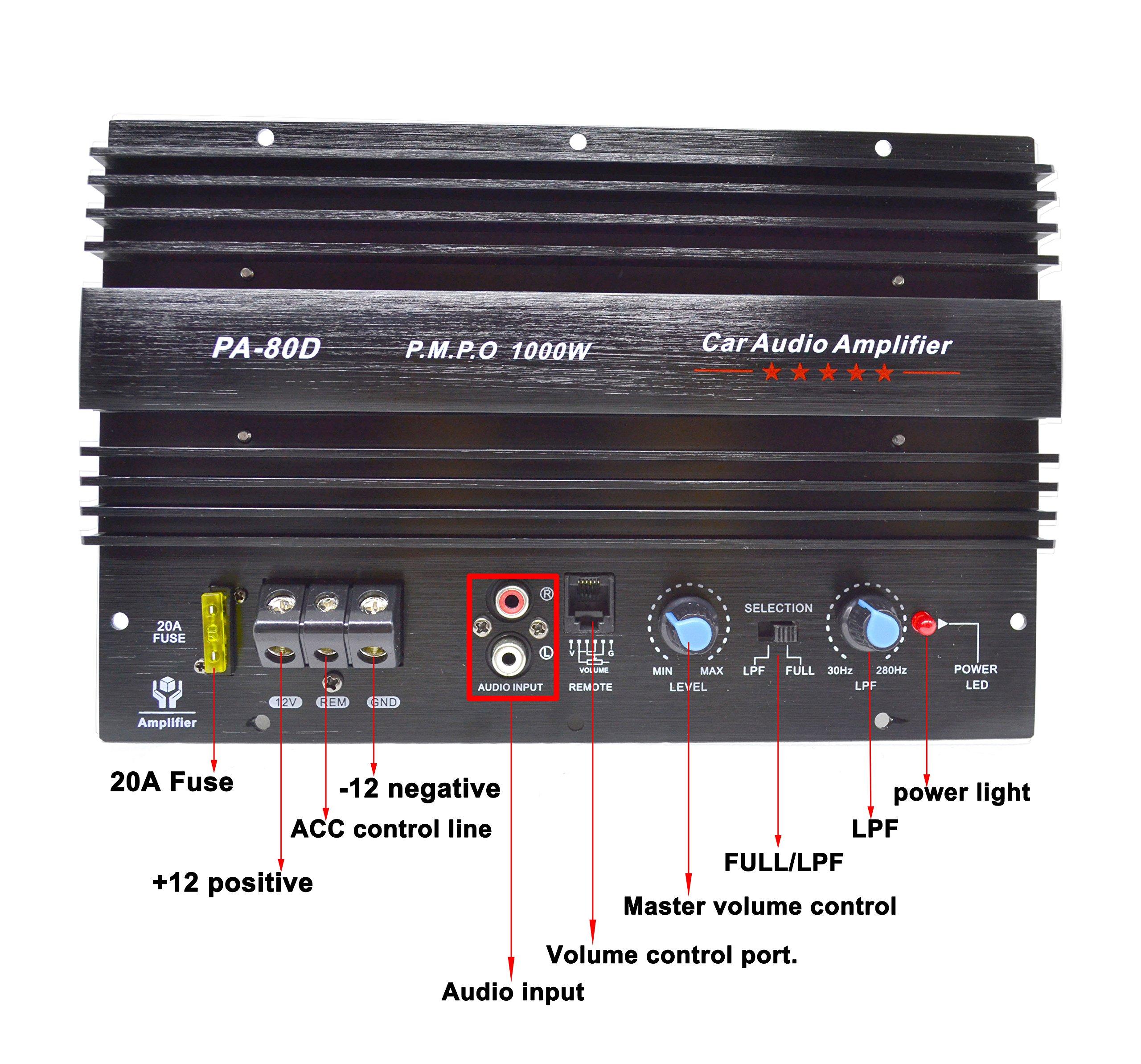 PA-80D Car Amplifie 1000W High Power Tube Amplifier Subwoofer Amplifier by bass audio (Image #2)