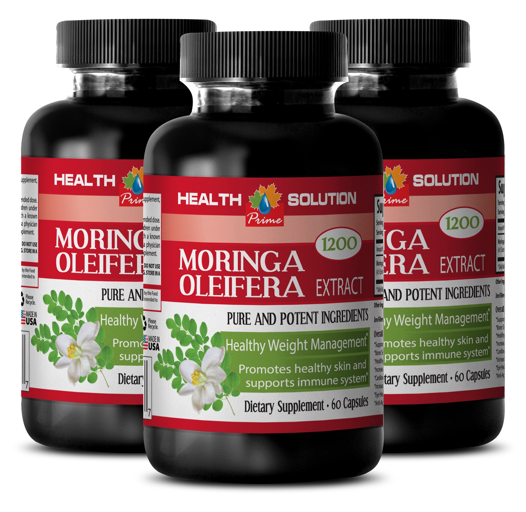 Moringa Organic Powder - MORINGA OLEIFERA EXTRACT 1200 - Pure Skin Clarifying Dietary Supplement 3 Bottles, 180 Capsules by Health Solution Prime (Image #1)