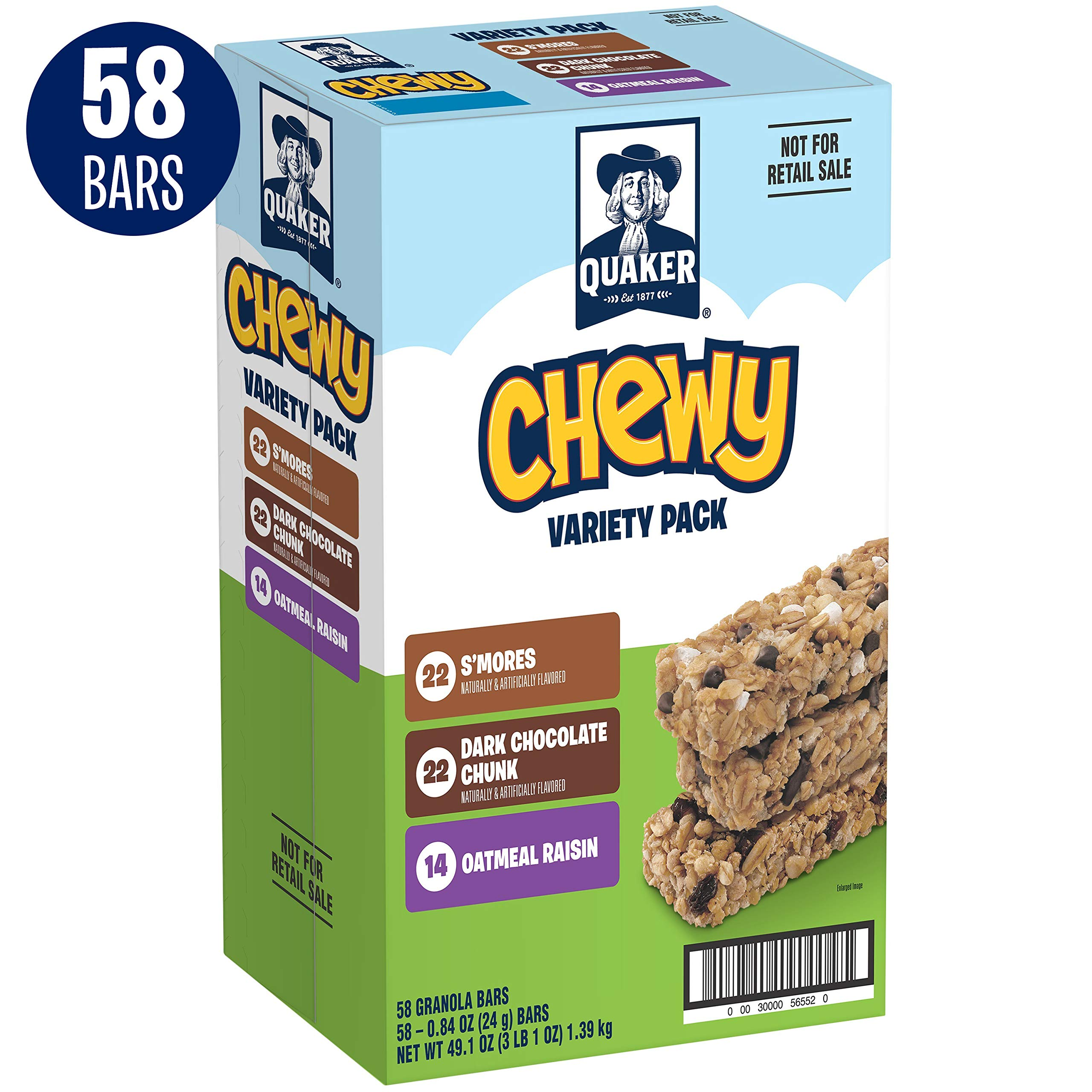 Quaker Chewy Granola Bars, Back to School Variety Pack, 58 Bars by Quaker